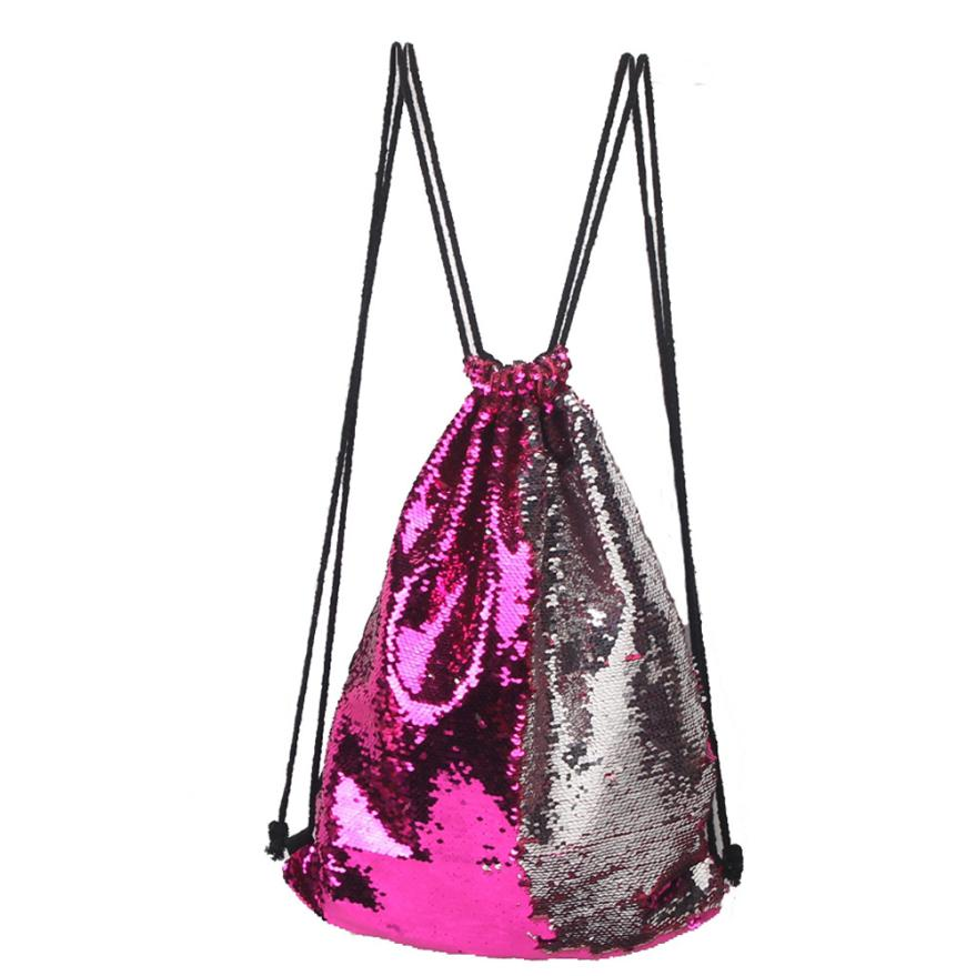 Fashion Backpacks String Sequins Travel Unisex Casual Women Jl20 Chest-Bag Roses Double-Color