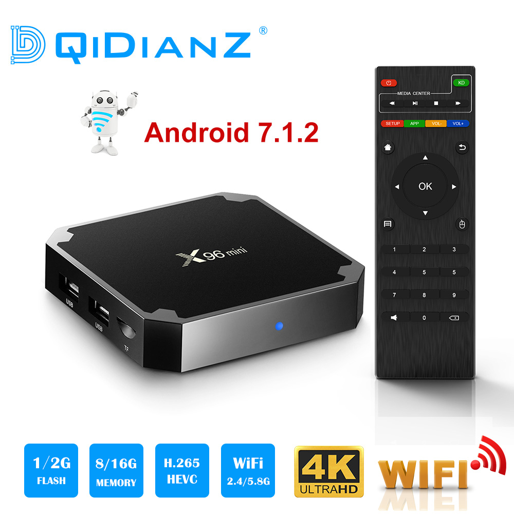 X96 mini Android 7.1 Smart tv box 2,4G Wifi S905W Quad Core 4 K 1080 P Volle HD Netflix Media player 64 bit X96mini Set-Top Box