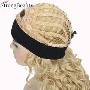 Image 4 - StrongBeauty 26 אינץ סינטטי חצי פאה ארוך מתולתל שיער פאות עם סרטי ראש טבעי לחתוך שיער סגנון לנשים