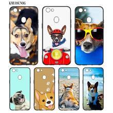 Black Silicon Soft Phone Case Super Cute Corgi Cartoon Dog For OPPO F5 F7 F9 A5 A7 R9S R15 R17 Bag