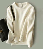 goat cashmere wool add thick women Oneck pullover sweater joker color H straight loose S 3XL wholesale retail customize