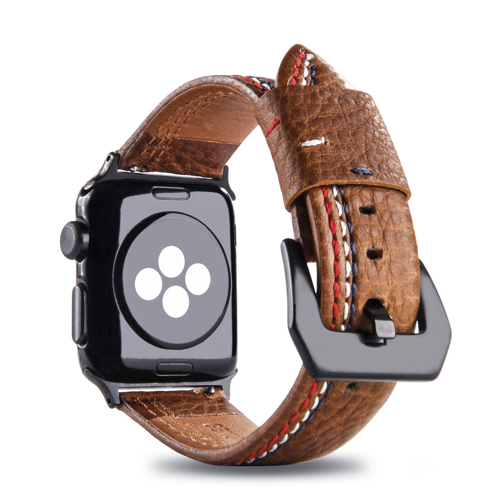 Genuine Leather Band Suture Style Bracelet for Apple Watch 4 40mm 44mm Series 3 Watchband Replacement Strap Men/Women 38/42mmGenuine Leather Band Suture Style Bracelet for Apple Watch 4 40mm 44mm Series 3 Watchband Replacement Strap Men/Women 38/42mm