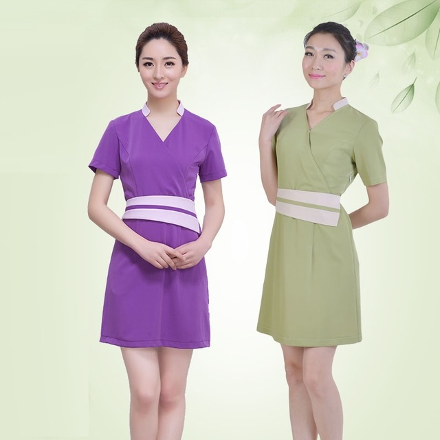 5sets lot wholesale spa work wear one piece dress for Baju uniform spa