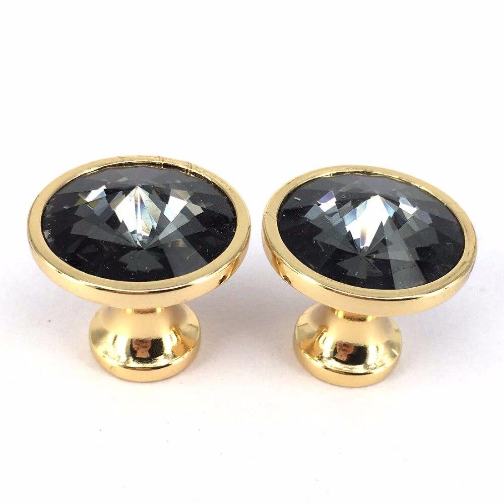 Golden Base Black Diamond Crystal Glass Door Knobs