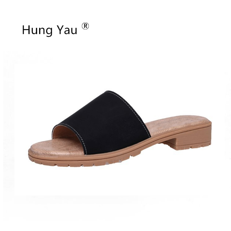 Hung Yau Shoes For Women's Slippers Sweet Flats Casual Shoes Beach Sandals Woman Comfortable Slides Summer Shoes Flip Flops new 2018 shoes woman sandals wedges lovely jelly shoes solid casual slippers summer style fashion slides flats free shipping