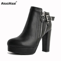 Women Real Leather Boots Autumn Winter Ankle Boots Ladies Sexy High Heeled Fashion Platforms Zipper Boots