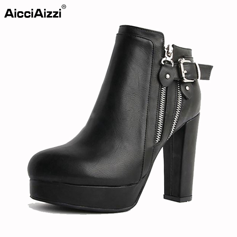 Women Real Leather Boots Autumn Winter Ankle Boots Ladies Sexy High Heeled Fashion Platforms Zipper Boots Women Shoes Size 34-40 classic winter boots leather shoes leather high heeled boots boots side zipper rose