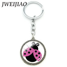 JWEIJIAO Lovely Insect Ladybug Pendant Keychain Ladybird lady beetle Charm Bag Car Key Chain Holder For Kids Custom Gift LB39(China)