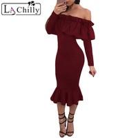 La Chilly Robe Hiver 2018 Jurken Sexy Women Party Dress Black Long Sleeve Ruffle Slash Neck
