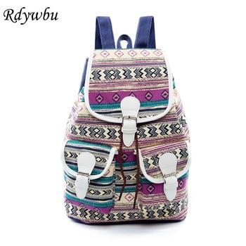 Rdywbu National Wind Drawstring Backpack New Unisex Ethnic Geometric Canvas Travel Bag Large Girl's School Bag Rucksack B628