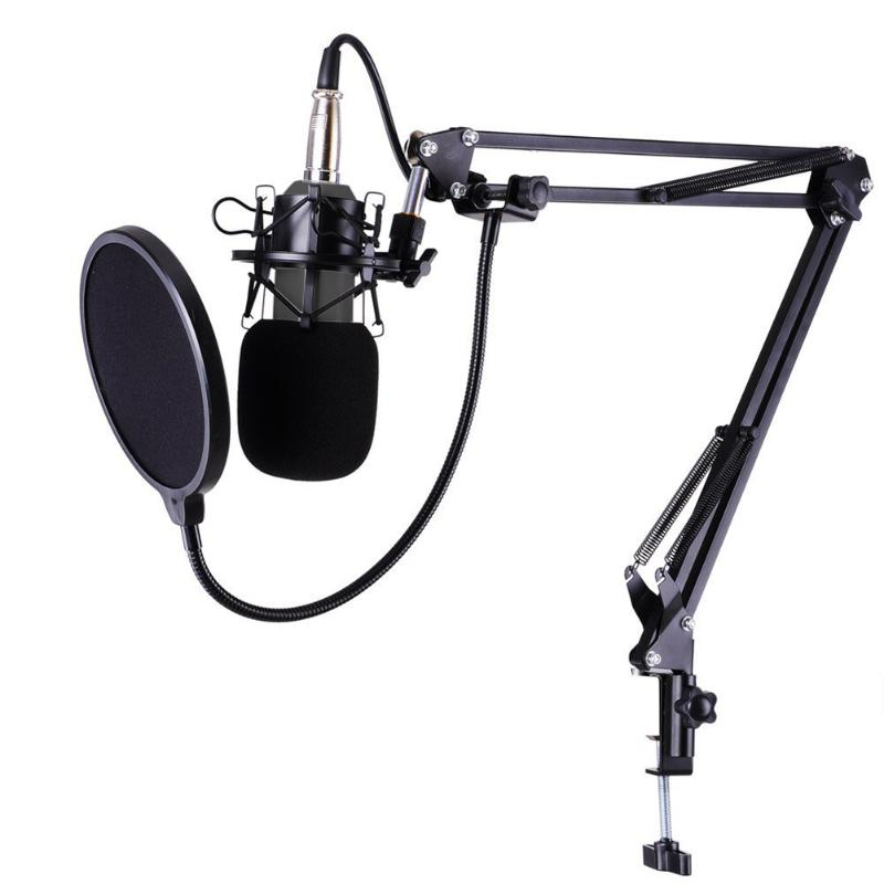 BM-800 Studio Live Streaming Broadcasting Recording Condenser Microphone Desktop Scissor Mic Stand Kit Sets XLR Cable rt7237ah rt7237ch