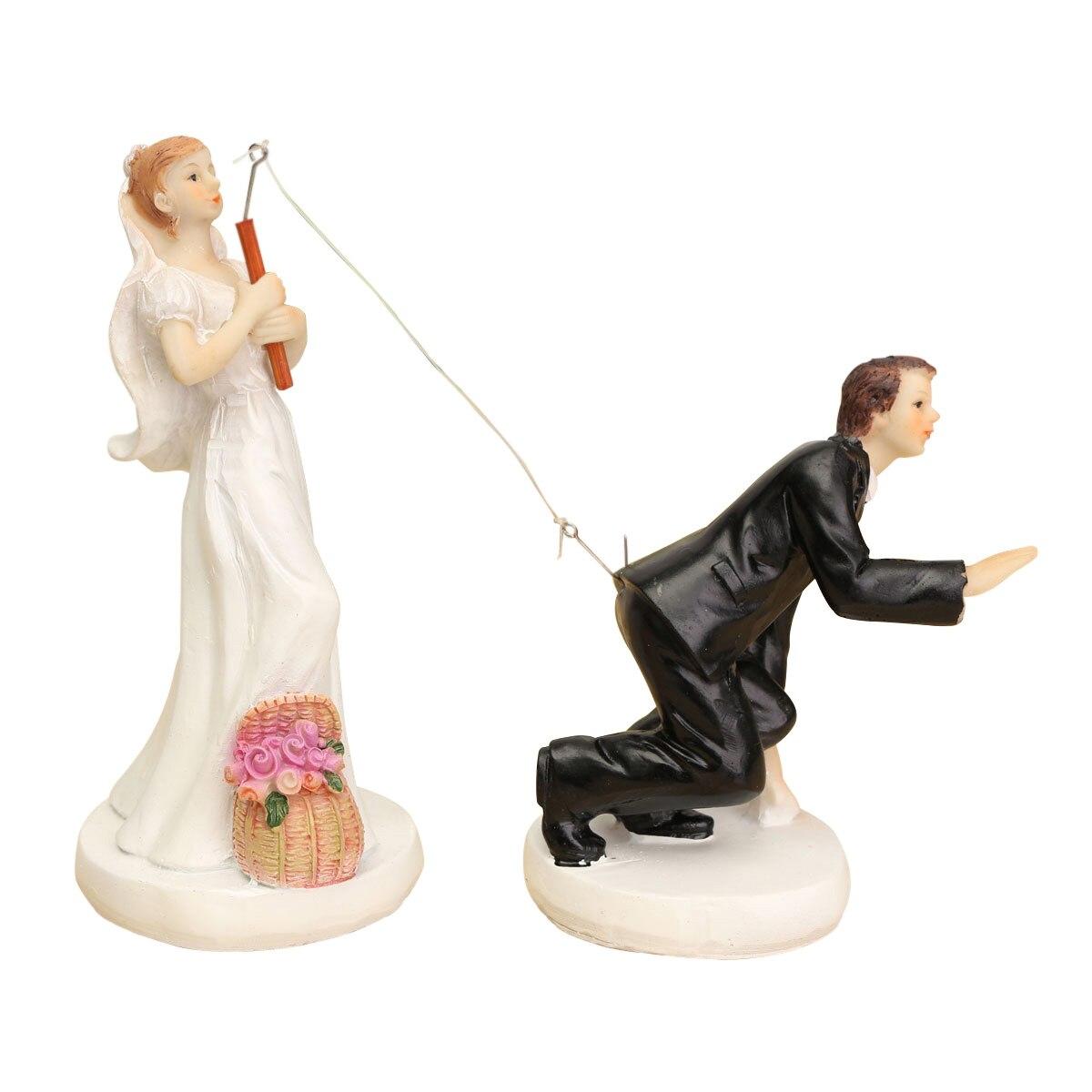 HOT SALE FUNNY ROMANTIC WEDDING CAKE TOPPER FIGURE BRIDE GROOM COUPLE BRIDAL Groom hooked