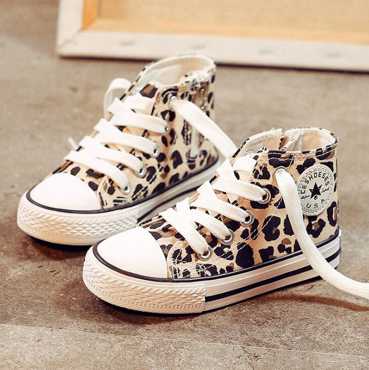 Children's Canvas Shoes 2019 New Kids High Top Sneaker Girls'Leopard-print Casual Board Shoes 1-10 Years Old