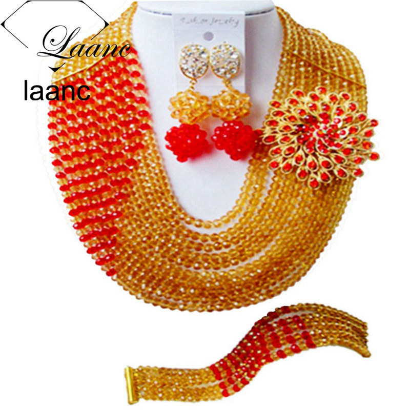 Laanc Champagne Gold and Red Nigerian Wedding Beads African Jewelry Sets for Women C10JK048Laanc Champagne Gold and Red Nigerian Wedding Beads African Jewelry Sets for Women C10JK048
