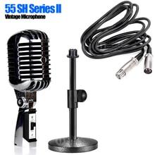 55 SH Cable de escritorio Pro Metal dinámico Retro Vintage soporte de micrófono para la tarjeta de sonido de la computadora de Youtube Karaoke altavoz mezclador cantar