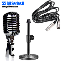 55 SH Desktop Wired Pro Metal Dynamic Retro Vintage Microphone Stand For Youtube Computer Sound Card Karaoke Speaker Mixer Sing