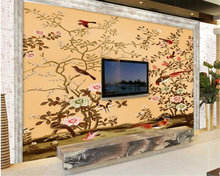 beibehang 3d wallpaper	Large personality suitable for interior decoration wallpaper hand painted flowers and birds HD murals 3d wallpaper artistic osmanthus tree hd hand painted flowers and birds wallpaper murals home decoration custom photo wallpaper