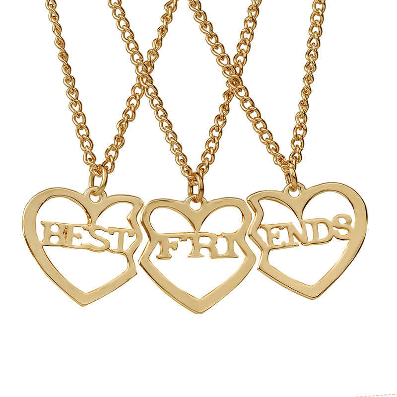 MINGQI 3pcs/set Three Bset Friend Forever Alloy Pendant Necklace Letter Heart Couple Girlfriend The Best Gift Women Jewelry