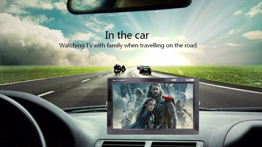 Free shippng Promotional 9 inch portable LED TV Hand Hold DVB T T2 TV for Car