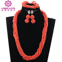 Coral African Beads Jewelry Set Nigerian Wedding Beads Jewelry Set India Necklace Set Free Shipping QW1194