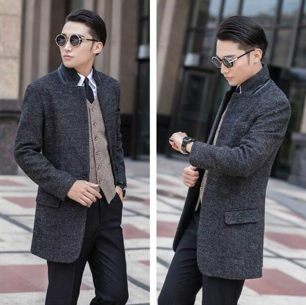 2017 grey teenage A buckle long wool coat men stand collar trench jackets mens wool coats
