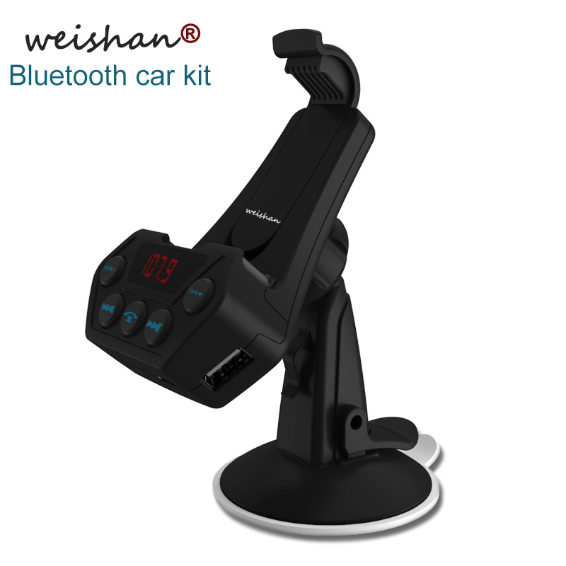 Weishan new bluetooth FM transmitter hands free car kit auto MP3 player support AUX output mobile phone holder with USB charger gf7carkit driver high quality headsets business earbuds hands free earphones phone bluetooth car kit with car charger
