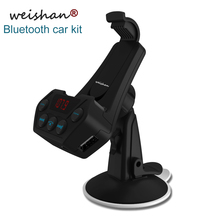 Weishan new bluetooth FM transmitter hands free car kit auto MP3 player support AUX output mobile phone holder with USB charger