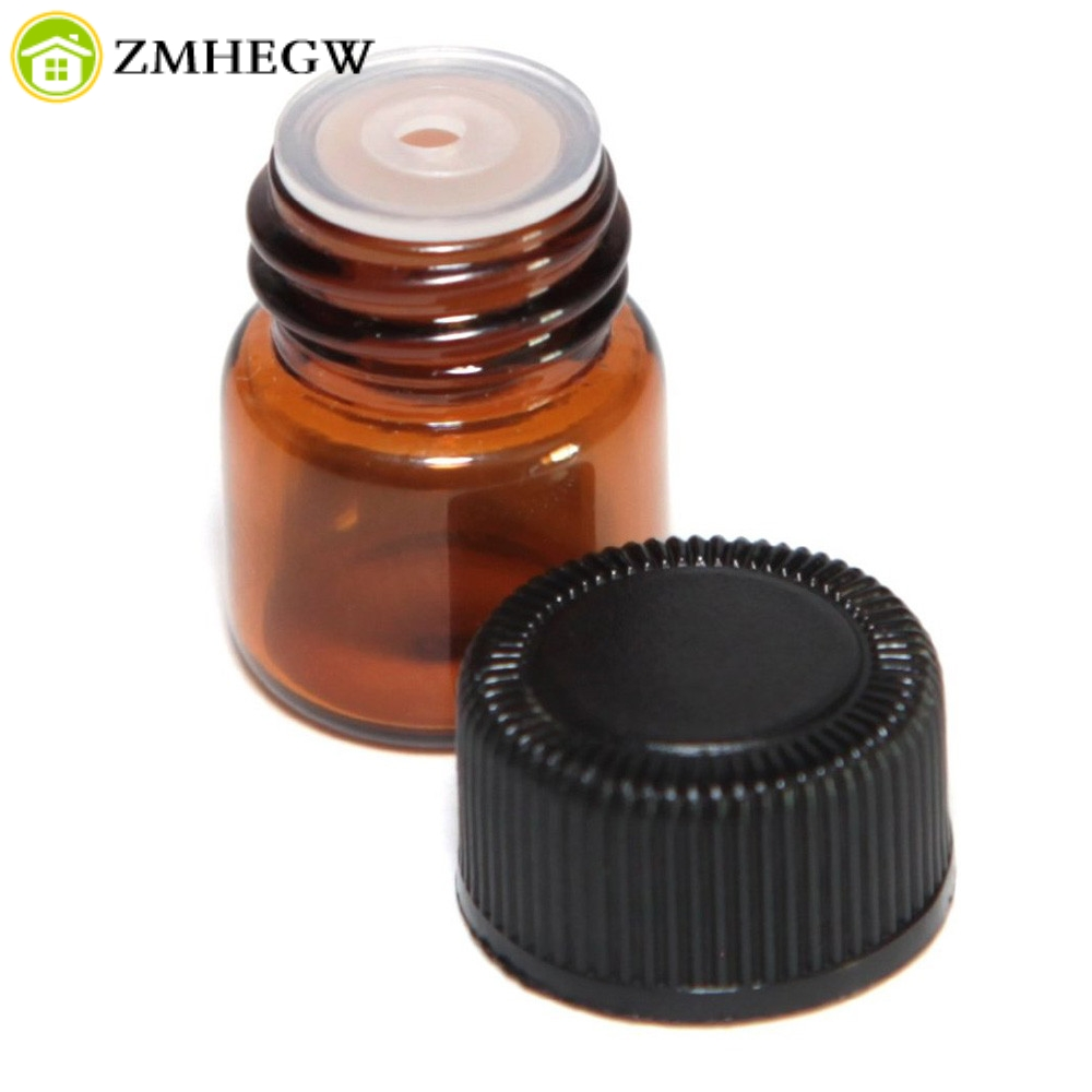 Sporting 12pc 1ml Amber Essential Oil Bottle With Orifice Reducer And Cap Dark Brown Cosmetic Containers Storage Bottles Cans Drop Ship Invigorating Blood Circulation And Stopping Pains Back To Search Resultshome & Garden