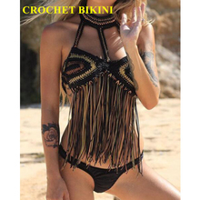 купить CROCHET BIKINI 2019 New Black Sexy Women Tassel Top Boho Beach Swimwear Crochet Fringe Bikini Bra Halter Camisoles Tank Swimsuit дешево