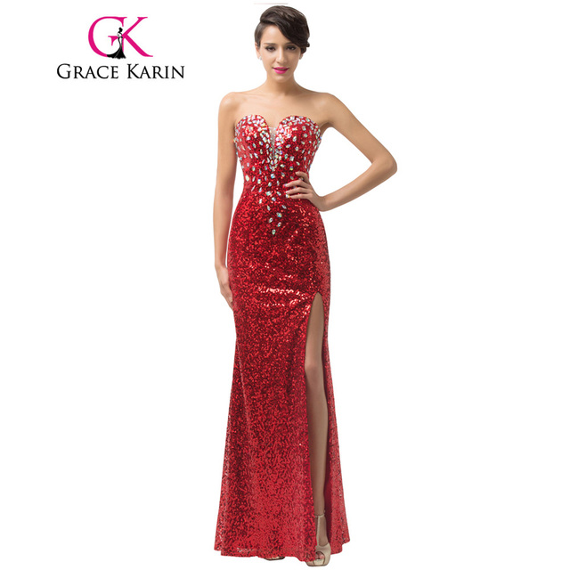 Luxury Grace Karin Long Formal Evening Dresses Crystal Sequin Pongee Split Red Elegant Evening Gowns Sexy Party Dress