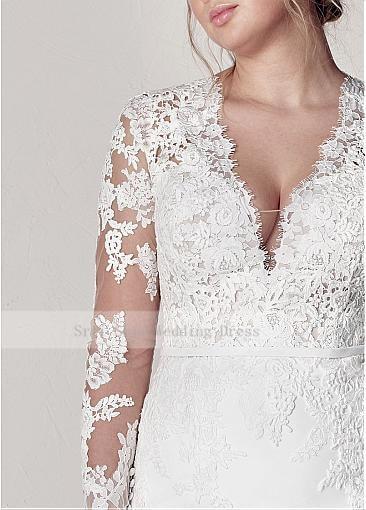 Modest V-Neck Lace Wedding Dresses Long Sleeve Illusion Appliques Mermaid Plus Size Bridal Gowns 2019 4