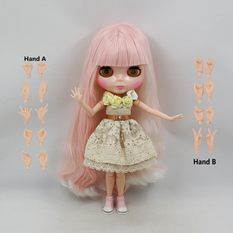 Blyth Nude Doll For Series No.280BL1362352 JOINT body Pink mix wihte hair Suitable For DIY Change BJD Toy For Girls все цены