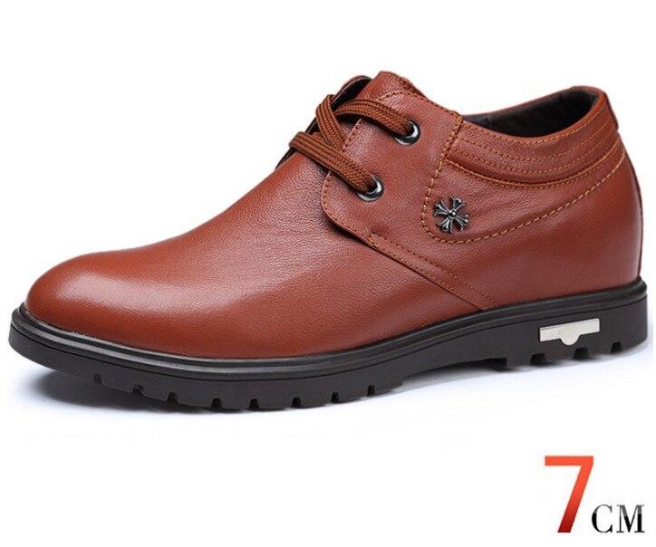 Haute qualité en cuir véritable chaussures pour hommes marcher plus grand 7 CM, décontracté augmenter élévation chaussures baskets homme chaussures - 2