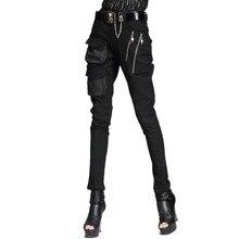 New Punk Style Harem Pants Women Cool Pocket Zipper Stretch Skinny Pencil Fashion Woman Casual Rock Trousers