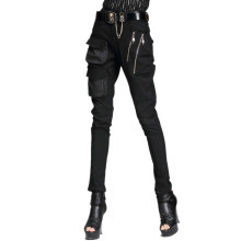 LYFZOUS Punk Style Harem Pants Pocket Zipper Stretch Skinny Pencil Pants Woman Casual
