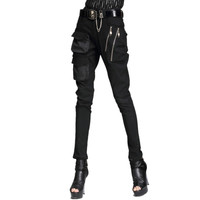 New Punk Style Harem Pants Women Cool Pants Pocket Zipper Stretch Skinny Pencil Pants Fashion Woman Pants Casual Rock Trousers