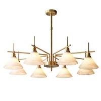 Пост современный Eourope подвесные светильники настоящая латунь Фойе Спальня светодиодный Подвесная лампа стекло декорирование абажура дома