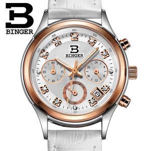 Image 5 - Binger zegarki damskie szwajcaria luksusowe zegar kwarcowy wodoodporny kobiety prawdziwej skóry z chronografem na pasku zegarki na rękę BG6019 W6