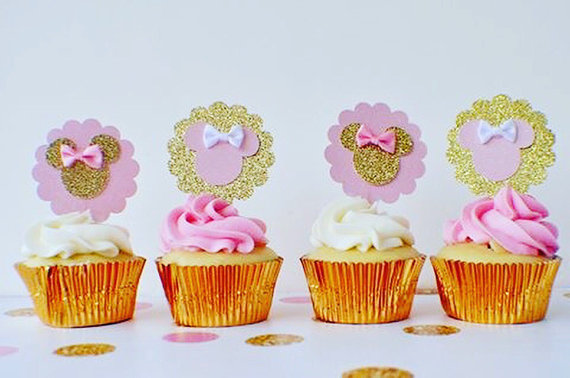 Stupendous 6Pcs Pink And Gold Minnie Mouse Cupcake Toppers Bow Minnie Mouse Funny Birthday Cards Online Necthendildamsfinfo