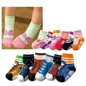 Hooyi dziewczęce skarpetki antypoślizgowe dziecięce buciki skarpety skarpetki dla noworodka buty dziecięce 6 par dziecięce buty do kolan wysokie bawełniane