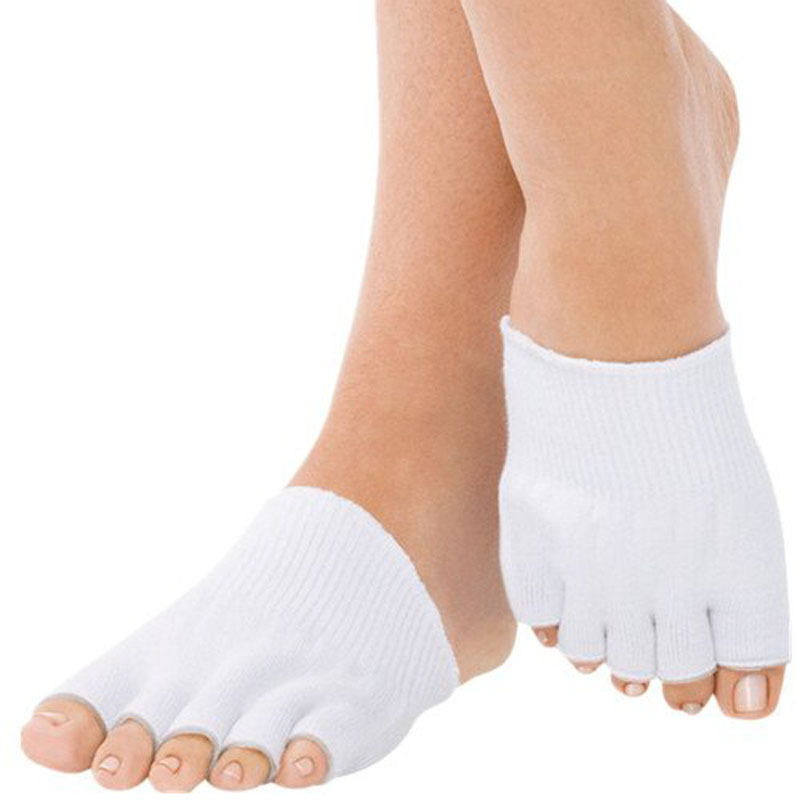 1 Pair Gel-Lined Compression Toe Separating Socks Heel Pain Relief