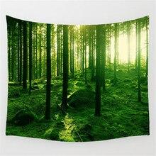 Лесной прямоугольный гобелен Индийский Мандала Гобелен Хиппи Настенная Цифровая печать пляжные