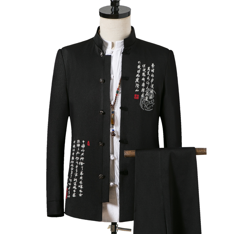 Spring And Autumn Men Two-Piece Set Asian Size S - XXXXL Embroidered Men Jacket And Pants Slim Design