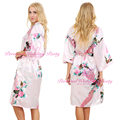 Noiva Do Casamento Da Dama de honra de Cetim de seda Robe Kimono Floral Roupão Curto Noite Robe Roupão De Banho Roupão Para As Mulheres Da Moda