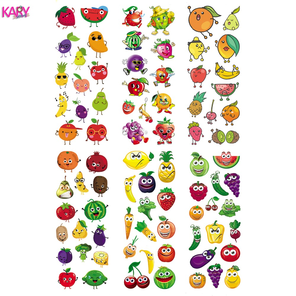6 Sheets Cute Smile Face Fruits Fruitage Cartoon Scrapbooking Bubble Stickers Emoji Reward Kids Gift Toys Factory Direct Sales