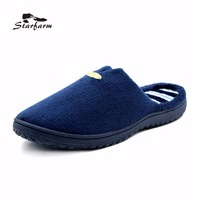 STARFARM Man Home Slippers In Navy Blue Slip On Coral Fleece Flat Slide Shoes Winter