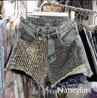 Nancylim 2019 New Fashion Asymmetric Rivet Cowboy Shorts Women's Summer High Waist Wide Leg Hot Pants Female Vacation Shorts