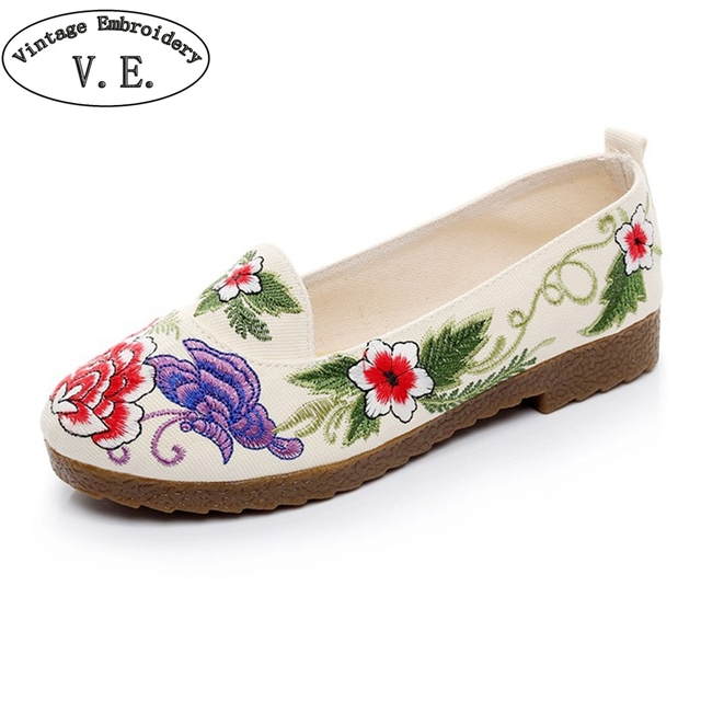 59580250284 Chinese Women Flats Casual Shoes Old BeiJing Floral Canvas Embroidery Shoes  Slip On Soft Single Ballet Shoes Sapato Feminino
