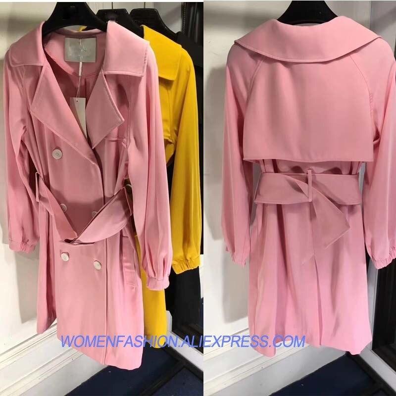 2018 printemps trench manteau pour les femmes belle couleur vs rose casaco feminino élégant abrigo mujer long manteau décontracté dame coupe-vent