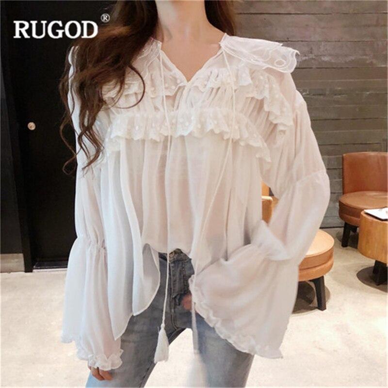 RUGOD 2018 корейский стиль Для женщин топы и блузка элегантные, кружевные, лоскутные рукав раструб белый блузы женская Свободная блузка Befree